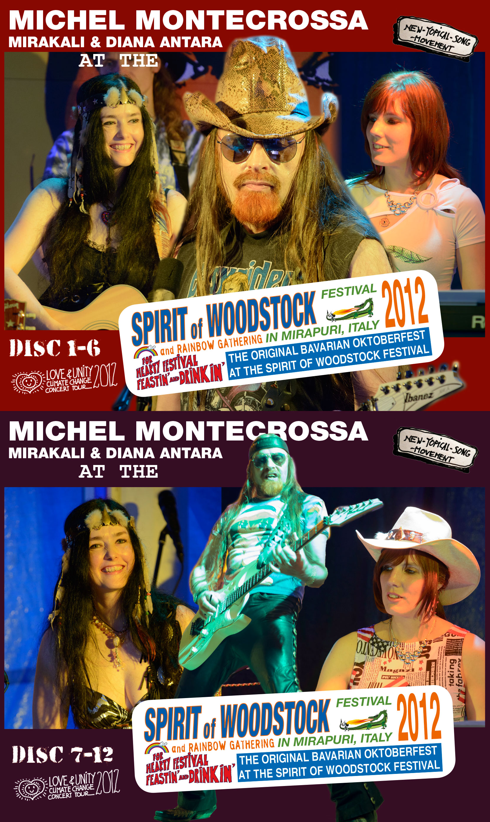 Michel Montecrossa, Mirakali and Diana Antara at the Spirit of Woodstock Festival 2012 in Mirapuri, Italy