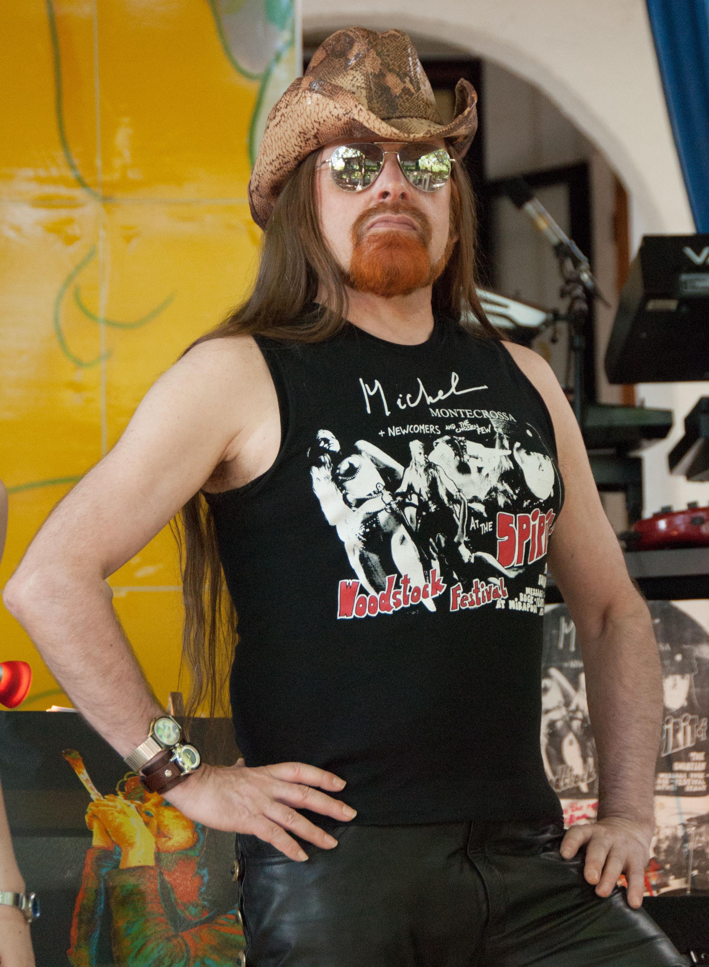 Michel Montecrossa wearing Spirit of Woodstock Festival T-Shirt