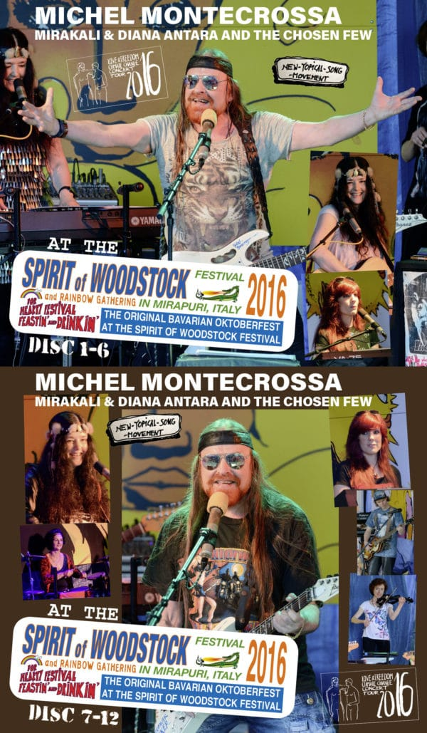 Michel Montecrossa, Mirakali and Diana Antara at the Spirit of Woodstock Festival 2016 in Mirapuri, Italy
